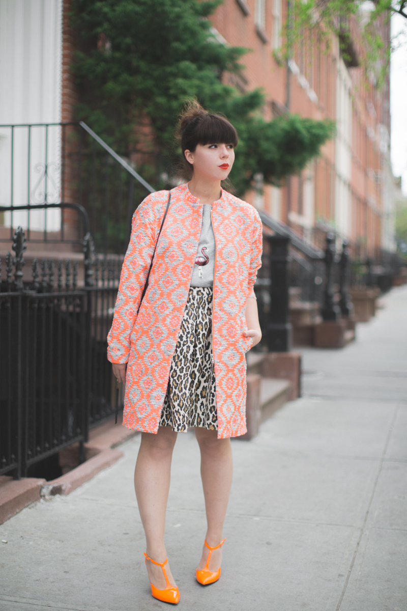 essentiel-antwerp-1-neon-orange-coat-flamingo-sequins-top-copyright-paulinefashionblog.com_-18