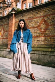 london-fall-2018-street-style-oversized-denim-jacket-dress-brown-cowboy-boots